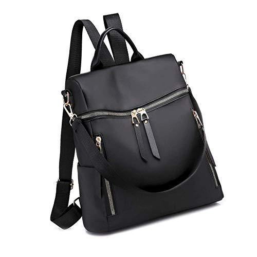 Women Fashion Backpack Shoulder Bag Nylon Waterproof Casual Headphone Gray Black