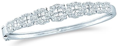 Sonia Jewels 14k White Gold Round and Princess Cut Channel Set Diamond 9 Nine Stone Setting Style Bangle Bracelet (3.05 cttw)