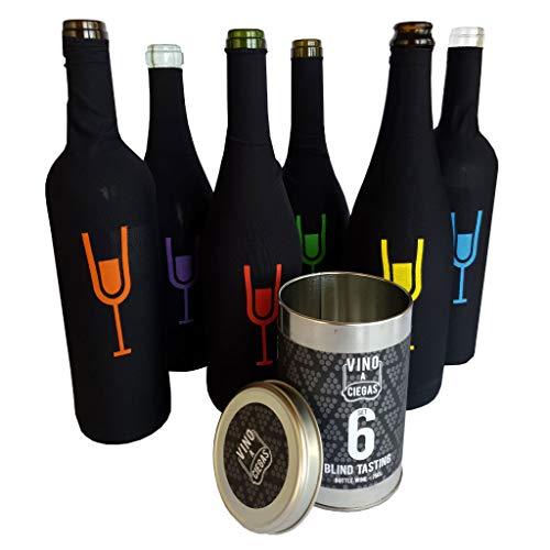 Vino a Ciegas Set 6 Verkostung Blindverkostung Socke - Metalldose - Blinde Weinproben