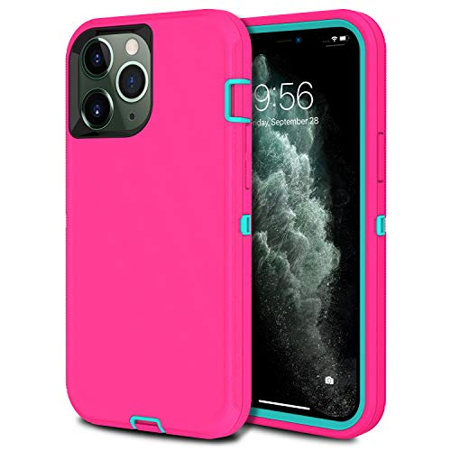 MXX Heavy Duty Protective Case Compatible with iPhone 12 Mini [No Built in Screen Protector] with [3 Layers] Rugged Rubber Shockproof Protection Cover Compatible with iPhone 12 Mini (Pink/Light Blue)