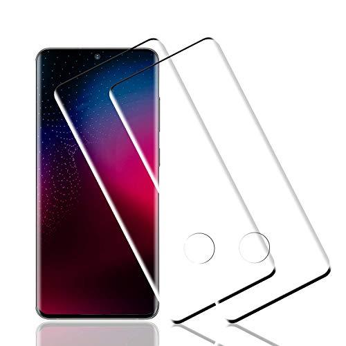 Wiestoung Protector de Pantalla de Vidrio Templado para Samsung Galaxy S20 Ultra, [2 Piezas] 3D Curvo Full-Cover Cristal Templado para S20 Ultra, Sin Burbujas,Resistente a Arañazos,Anti-Aceite