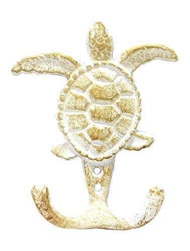 "Marco Cast Iron Sea Turtle Double Wall Hook - Whitewash Finish - 3.75"""