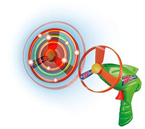 Paul Günther 1691 - Turbo Light Propeller-Spiel, leuchtendes Fangspielzeug mit LEDs und Startpistole, Rotordurchmesser ca. 27 cm, Flugmodell für Kinder ab 5 Jahren