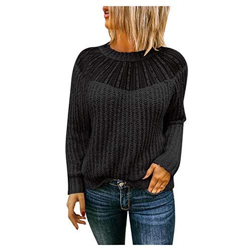XUEbing Blusa de manga larga con cuello redondo y cuello redondo para mujer