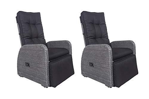 HOMEXPERTS Garten 2er Set MADAGASKAR/Relax-Chair/Verstellbare Rückenlehne/Liege-Funktion/Inkl. Polster-Auflage/Outdoor/Polyrattan-Geflecht/Sonnen-Stuhl / 62,5x104x72cm (BxHxT), Grau