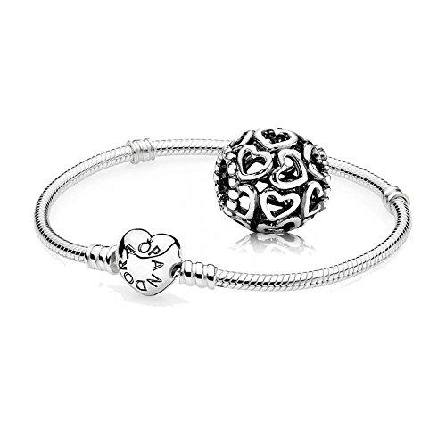Pandora Original Geschenkset - 1 Silber Armband 590719-21 mit Herz Schließe + 1 Silber Element 790964 Herzstrudel