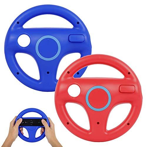 Volante para Nintendo Wii y Wii U, PowerLead 2 pcs Blanc Racing Wheel Compatible con Mario Kart, Rueda del Controlador de Juego para Nintendo Wii Remote Game-Rojo y Azul