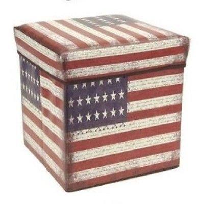Kruk en opbergdoos 2-in-1 - USA. Stars & Stripes - 30x30x30 cm, gewatteerde deksel