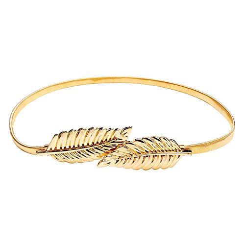 Damen Fashion elegant Gürtel Stretchgürtel Taillengürtel Hüftgürtel elastisch Metall Kleidgürtel (Blätter-Gold)