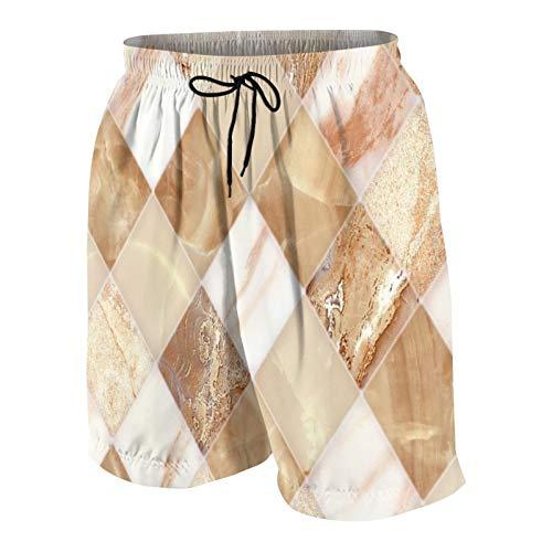 KOiomho Hombres Personalizado Trajes de Baño,Patrón de diseño de Azulejos de mármol para Paredes y Pisos para Edificios,Casual Ropa de Playa Pantalones Cortos
