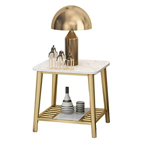 XZGang Hotel Bedside Table, Double Layer Marble Coffee Table Large Area Home Office Reception Room Sofa Table, Size:45 * 40 * 55CM simple life (Color : C, Size : 45 * 40 * 55CM)