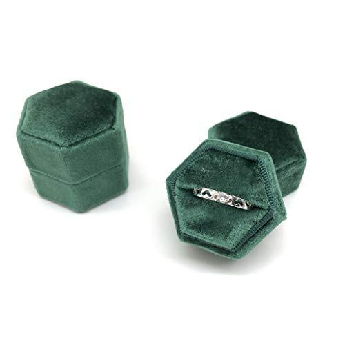 VVXXMO Caja de anillo de terciopelo hexagonal,Soporte de exhibición de anillo único,Tapa desmontable,Soporte de caja de anillo para el día de San Valentín