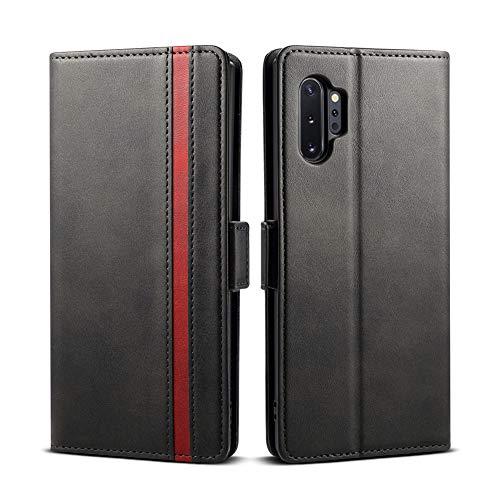 Rssviss Galaxy Note 10 Plus Hülle, Premium Handyhülle Samsung Galaxy Note 10 Plus Ledertasche Flip Hülle Schutzhülle Brieftasche Etui für Samsung Note 10+ Handyhülle, 6.8 Zoll, Schwarz (W5)