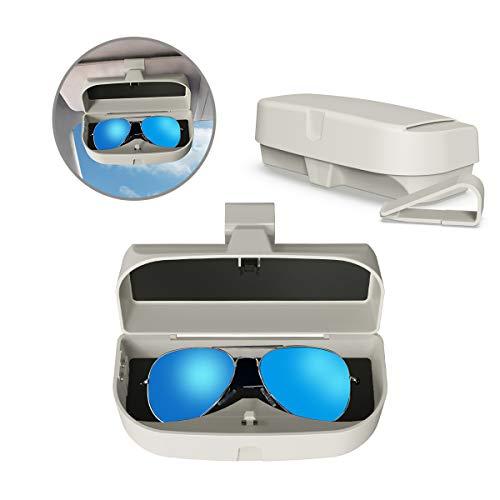 MoKo Caja de Gafas para Coche Universal, Estuche para Gafas de Sol con Clip y Bolsillo de Inserción de Tarjetas para Visera de Auto Soporte de Gafas de Automóvil - Gris