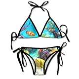 PRAHUCE Women's Bikini Swimsuit Triangle Top and Tie Side Tropical Fish Printed Bikini Set Bathing Suit Swimwear Black