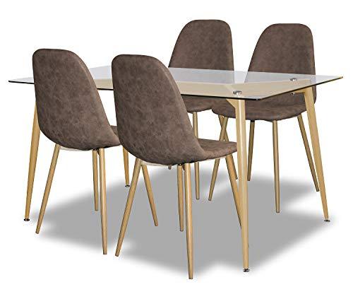agionda® Esstisch Stuhlset :Designer Tisch Oslo 140 x 80 4 Retro Designer Stühle Pascal braun