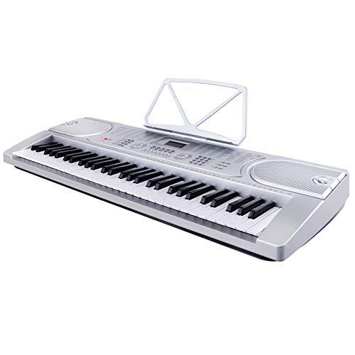 LAGRIMA 61 Tasten Klaviere Keyboards inkl. Mikrofon zum Mitsingen Elektronische Orgel Klavier Digitalpiano Silber MK-2089