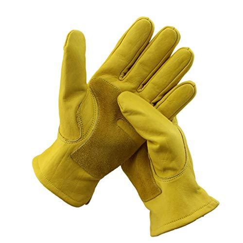 JIE KE Lederen Racing Handschoenen Rijden Outdoor Rijden Winddicht En Draagbaar Tuinieren Lassen Warm Werkende Handschoenen Geel Handschoenen Rijden Wandelen Motorfiets Scooter Vissen
