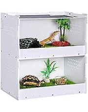 Hábitat de terrario de reptiles de doble capa, caja de alimentación acrílica transparente, caja de cría de reptiles, con pequeños orificios de aire, para insectos araña, lagarto, rana, cricket,tortuga