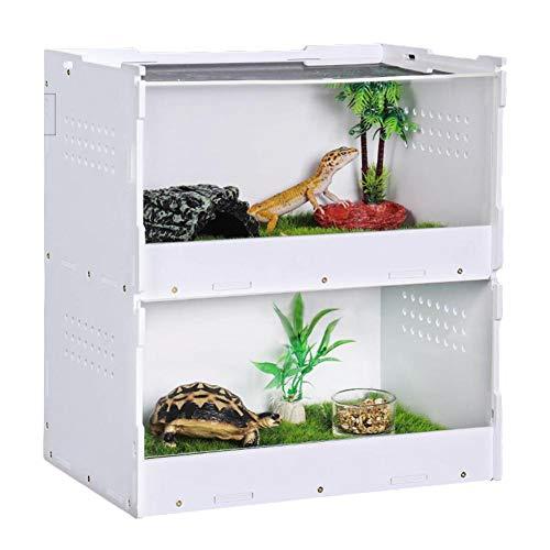 Forwei Glasterrarium, durchscheinendes Glas-Reptilien-Terrarium, zweischichtiges Reptilien-Glashaus, tragbarer Reptilien-Terrarium-Lebensraum für Mini-Haustierhäuser