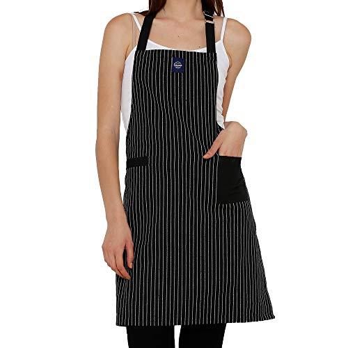 Encasa Homes Verstellbare Küchen Schürze mit Taschen und Handtuchhalter, 64 x 79 cm, recycelte Baumwolle, für Zuhause, Restaurant, Männer & Frauen, Kochen, Backen - Metzgerstreifen schwarz