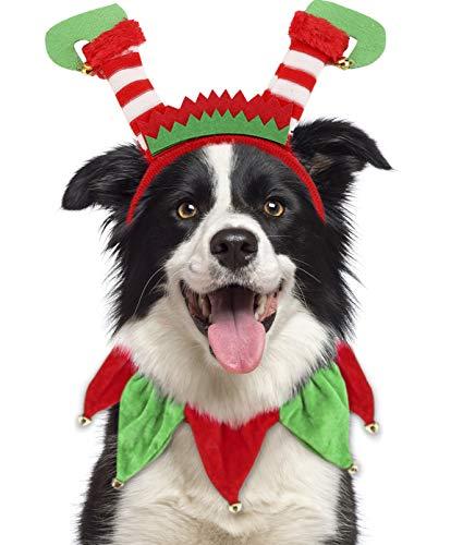 Dog Christmas Outfit,Pet Elf Headband and Xmas Tutu Collar