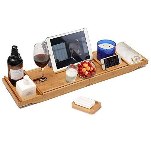 GUIFIER Bandeja de bambú para bañera extensible para una o dos personas, bandeja de baño y cama, bandeja de baño de lujo con libro y soporte para vino, soporte de jabón gratis