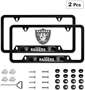 License Plate Frames 2 PCS Aluminum Alloy License Plate Holder,Universal American Auto Licence Plate Frame Covers Rust-Proof Rattle-Proof