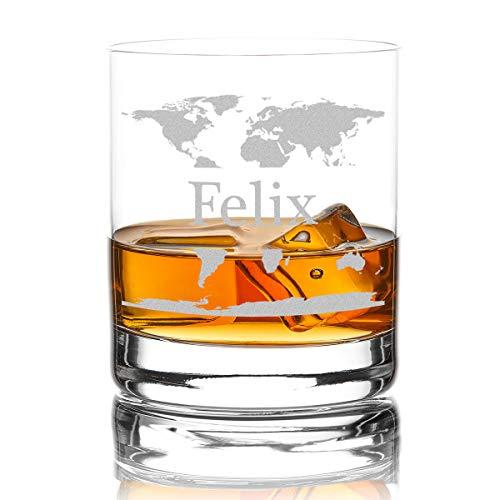polar-effekt Whiskyglas mit Gravur, hochwertiges Whiskey Tumbler Glas graviert mit Name - Motiv Weltkarte, 320ml Geschenkidee Geburtstag Weihnachten