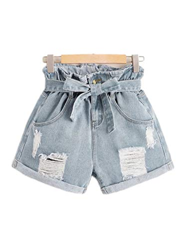 Milumia Women's High Waisted Belted Shorts Ripped Denim Shorts Light Blue Large