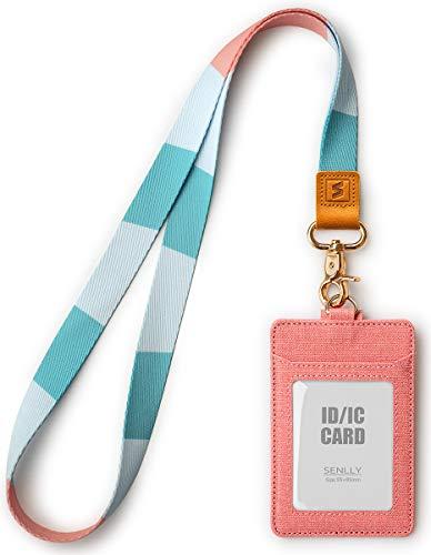SENLLY Soporte para Tarjeta de Identificación de Regalo con Linda Correa de Cordón para el Cuello, Card Badge Holder para Mujeres y Hombres