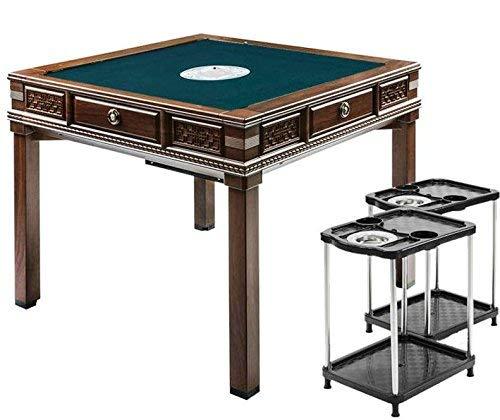 紺色テーブル【高級】木彫り調 PSE付 全自動麻雀卓 便利なUSB4口付 ダイニングテーブル・サイドテーブル2個・保証書・赤どら・焼鳥・保護カバー付