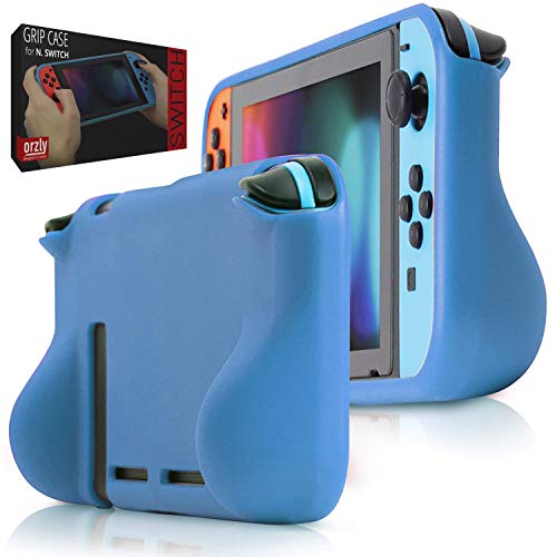 Orzly Comfort Grip Case for Nintendo Switch - Protective Back Cover for use on The Nintendo Switch Console in Handheld Gamepad Mode with Built in Comfort Padded Hand Grips - BLAU