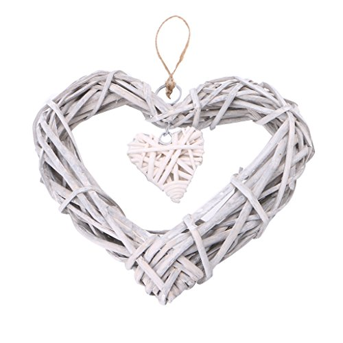 qiuxiaoaa Heart Wicker Wreath Home Wall Hanging Wedding Birthday Party Ornament Decor Heart-Shaped Crafts