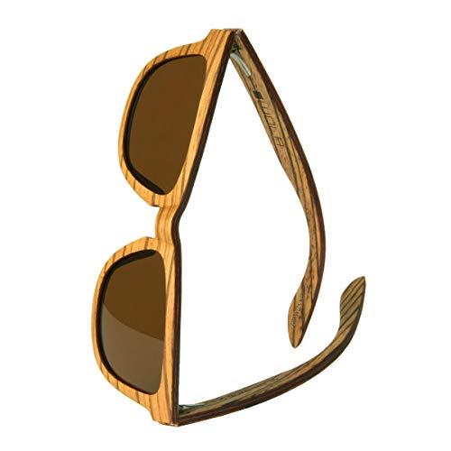 WOLA estilo cuadradas gafas de sol en madera AERO mujer y hombre madera, sunglasses UV400 - polarisado zebrano