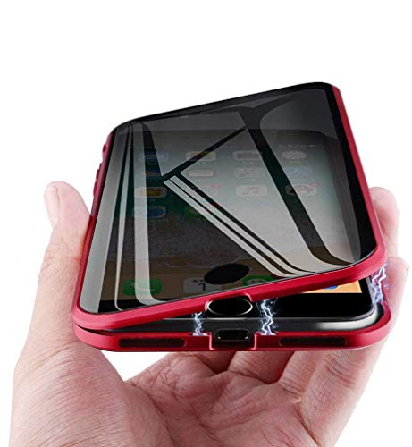 MIMEI Privacy Magnetic Case for iPhone XR 6.1', Clear Double Sided Tempered Glass [Magnet Absorption Metal Bumper Frame] Thin Anti-Spy 360 Full Protective Phone Case 5.8'' (red, XR 6.1')