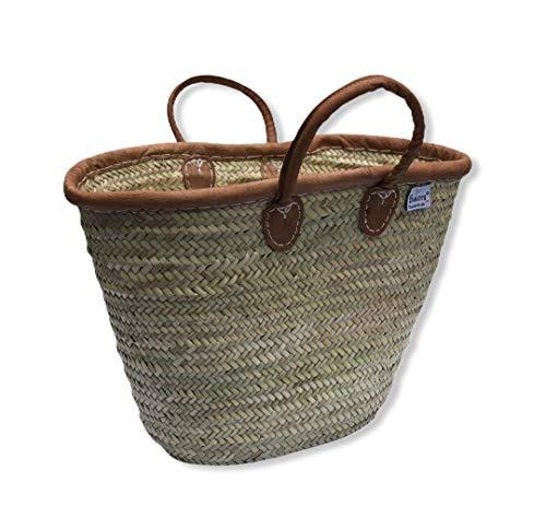 Original Bukora® Ibiza Palmblatt Tasche mit Lederrand und Henkel