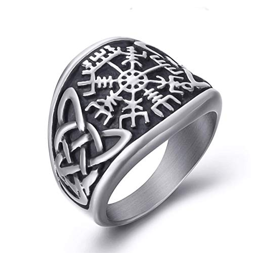 Elfasio Men Stainless Steel Rings Viking Valknut Pirate Compass Text Symbol Vintage Jewelry Size 13