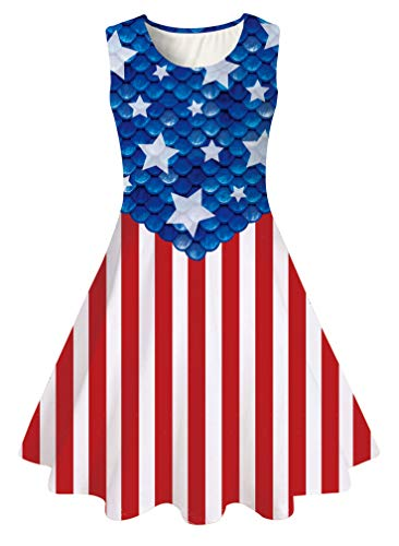 Big Girl's Fourth of July Dressing Up Outfits with Unique USA Flag Patriot Designer Ruffles Puffy Lace Vintage Princess Teal Green Tween Dresses for 8Y 9Y Juniors in Special Casual Occasions Birthday