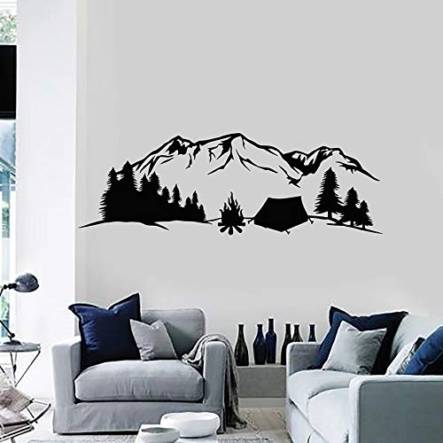 ASFGA Natural Landscape Wall Decal Travel Travel Camping Mountain Tent Forest Vinyl Sticker Art Mural Living Room Home Decoration