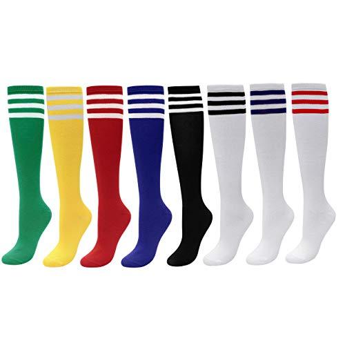 CHIC DIARY Kniestrümpfe Damen Mädchen Fußball Sport Socken College Cheerleader Kostüm Strümpfe Cosplay Streifen Strumpf, 8 Paar, Einheitsgröße