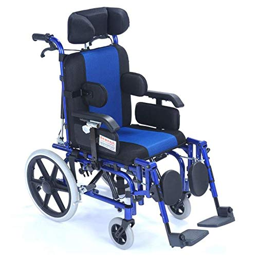 SHOWGG Kinderrollstühle Ärztliche Betreuung Aluminium High Back Multifunktions behinderte Kinder Komfortable manueller Rollstuhl mit Kopfstütze kann hinlegen und Hinlegen Faltbare Rollstuhl