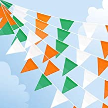 ZSNICE 123 Feet/37.5 Meters Irish St. Patrick's Day Party Decorations Triangular Bunting Super Long Green White and Orange Pennant Banners Flags Polyester Fabric, Parade Bar Decor Supplies