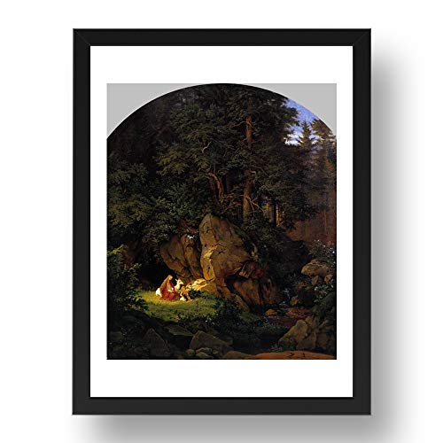 Period Prints RICHTER, Adrian Ludwig: Genoveva in the Forest Seclusion, arte vintage,...