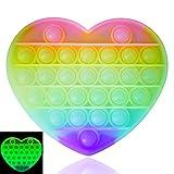 Luximi - Pop IT Fluo Coeur - Fidget Toy - Popit Jeu Anti Stress Enfant Adulte - Arc en Ciel - Push Pop Bubble - Jouet sensoriel éducatif Multicolore - Bulles à Presser - Poppit Antistress Fluorescent