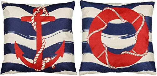 Puccybell KB010 - Set di 2 federe per cuscino, design marittimo, stampa digitale, 45 x 45 cm, colore: blu/bianco/rosso