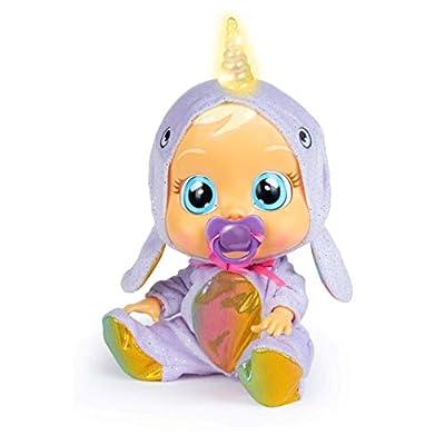 Bebés Llorones Narvie - Muñeca interactiva que llora de verdad con chupete y pijama de Unicornio