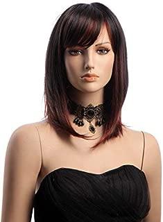 TSNOMORE Women's Side bang Black with Red Highlights Straight Bob Women Wig
