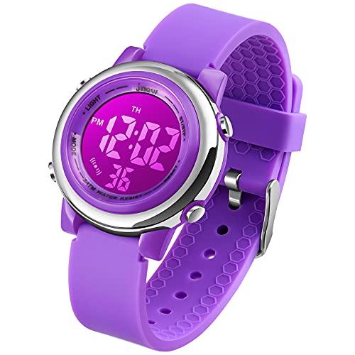 Kinder Digital Sport Uhren-Jungen Mädchen Wasserdicht Armbanduhr Sportuhr mit Wecker Datum Chronograph 7 LED Hintergrundbeleuchtung für Little Jugendliche Jungen - Lila