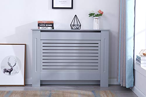 Yakoe Modern Radiator Cover Wood MDF Wall Cabinet in 4 Sizes, Engineered, Grey, Medium